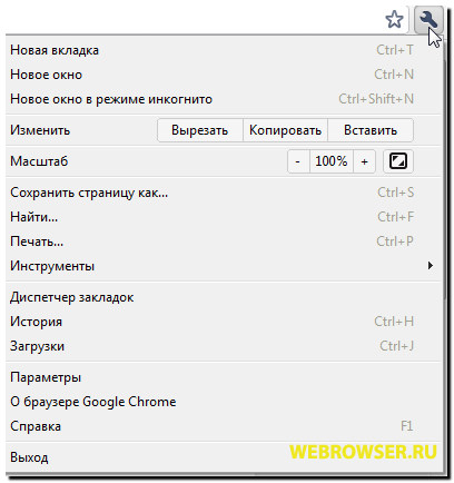 Google Chrome Меню