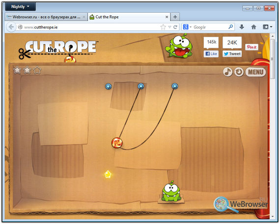 Браузерная версия Cut the Rope